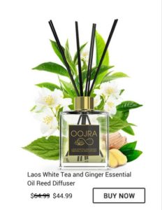 Buy Oojra Laos White Tea and Ginger Essential Oil Reed Diffuser Now for only 44.99 when regularly 64.99