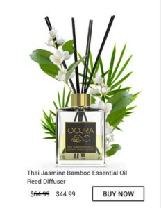 Buy Oojra Thai Jasmine Bamboo Essential Oil Reed Diffuser Now for only 44.99 when regular 64.99