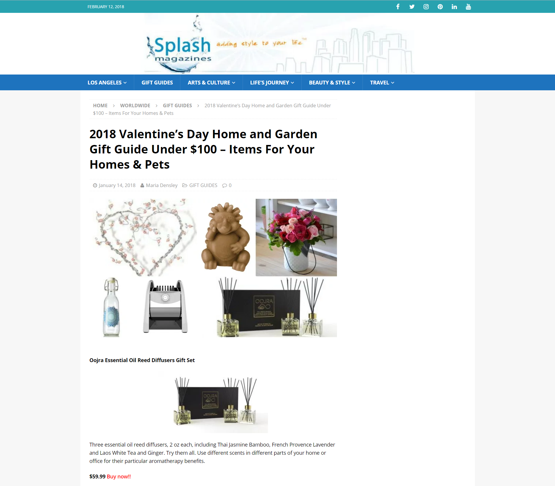 Splash Magazine Features Oojra As A Valentine S Gift Idea Under